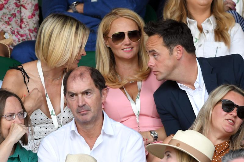 LONDON, ENGLAND - JULY 08: Jenni Falconer, Anne-Marie Corbett and Ant Mcpartlin attend day seven of the Wimbledon Tennis Championships at All England Lawn Tennis and Croquet Club on July 08, 2019 in London, England. (Photo by Karwai Tang/Getty Images)