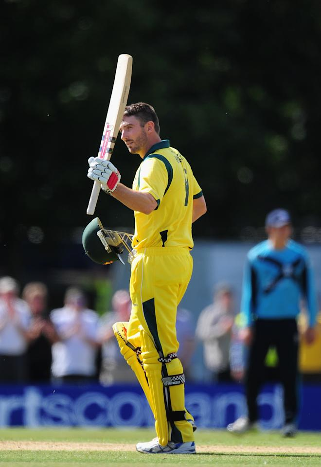 EDINBURGH, SCOTLAND - SEPTEMBER 03:  Australia batsman Shaun Marsh celebrates his century during the One Day International between Scotland and Australia at the Grange on September 3, 2013 in Edinburgh, Scotland.  (Photo by Stu Forster/Getty Images)