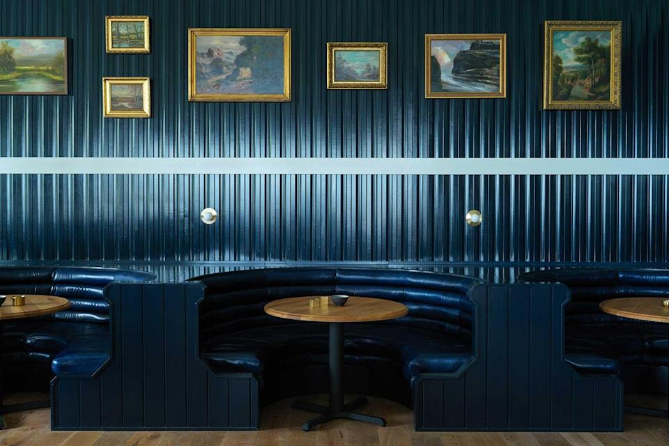 Navy blue bar at the Lake House on Canandaigua, voted one of the best hotels in the world