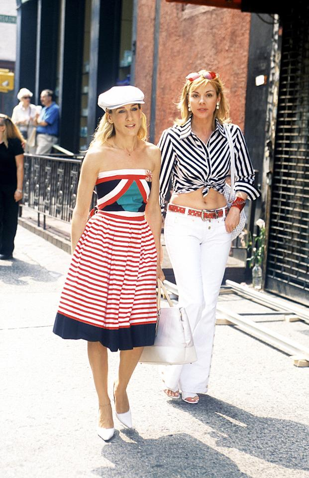 18. Every fashionista (including Carrie and Samantha) knows that a proper summer wardrobe wouldn't be complete without at least one nautical-inspired ensemble. Anchors away? No, they should stay!