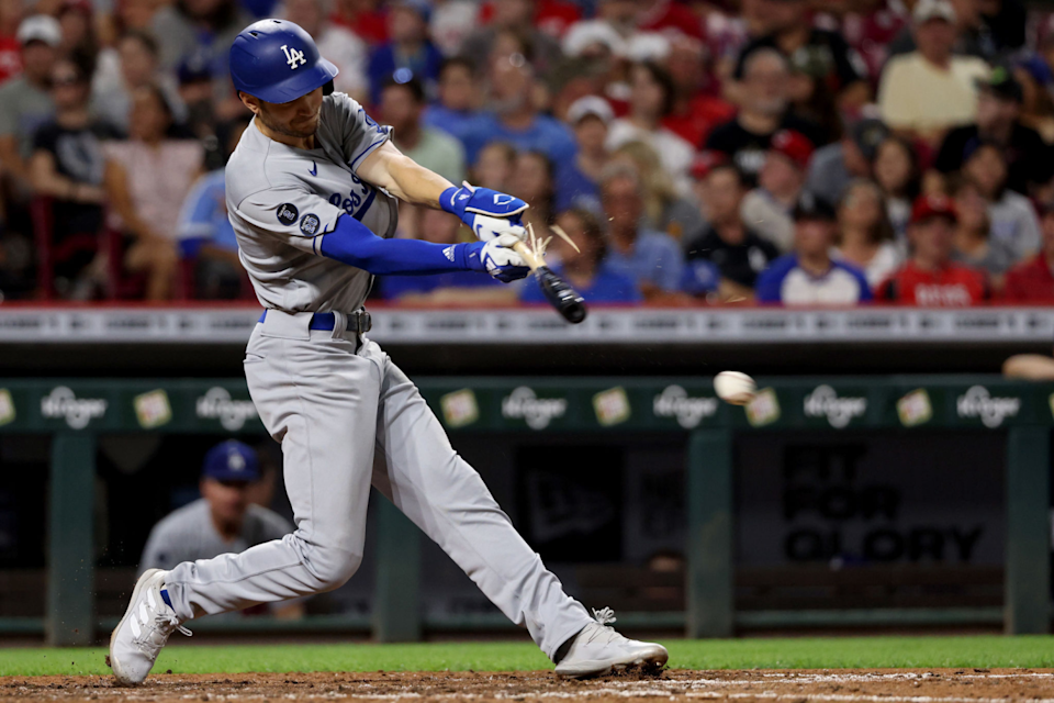 Trea Turner breaks his bat on a sixth-inning single. The Dodgers were limited to six hits.