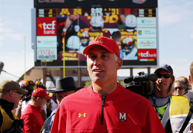 Maryland coach D.J. Durkin remains on paid administrative leave while the school investigates his program. (AP)