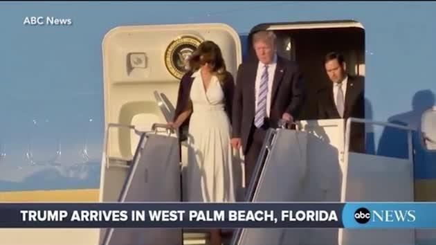 As Donald tried to grasp Melania's hand, she pointedly yanked it away. Source: ABC News