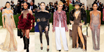 """<p>After literally years, the <a href=""""https://www.cosmopolitan.com/style-beauty/fashion/g37580049/met-gala-2021-red-carpet-pictures/"""" rel=""""nofollow noopener"""" target=""""_blank"""" data-ylk=""""slk:Met Gala"""" class=""""link rapid-noclick-resp"""">Met Gala</a> is finally back, slightly later than anybody hoped for, but none the worse for wear. And on behalf of a world positively hungry for the kind of high-fashion cray the event provides, we thank the stars and designers for this bounty of style. We went into the night assuming it would be a low-key affair, what with the whole pandemic thing and all, but we are utterly thrilled to report that we were totally, one hundred percent wrong in our prediction. The stars turned it out—some more effectively than others. Let's run through the most notable looks of the night, shall we? </p>"""