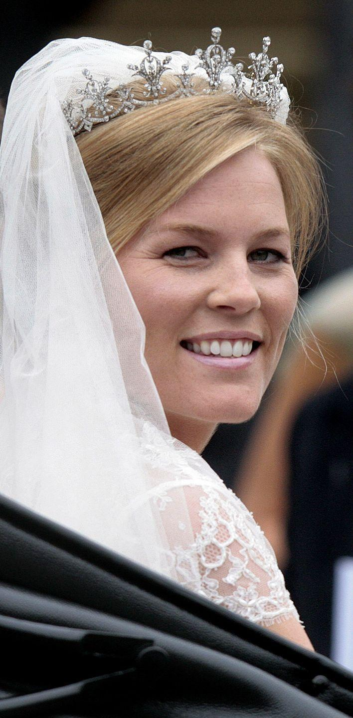 <p>The Festoon tiara belongs to Princess Anne, who loaned it to her daughter-in-law, Autumn Phillips, for her wedding day. The tiara was originally gifted to Anne in 1973 by the World-Wide Shipping Group after she christened one of its ships.</p>