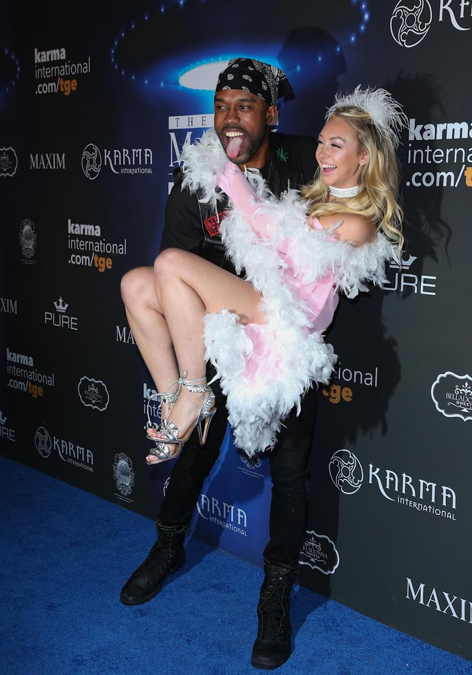 <p><em>Bachelor in Paradise</em>'s DeMario and Corinne partied the night away together at the Maxim Halloween party. In case you didn't you know, they're friends again. (Photo: Getty Images) </p>
