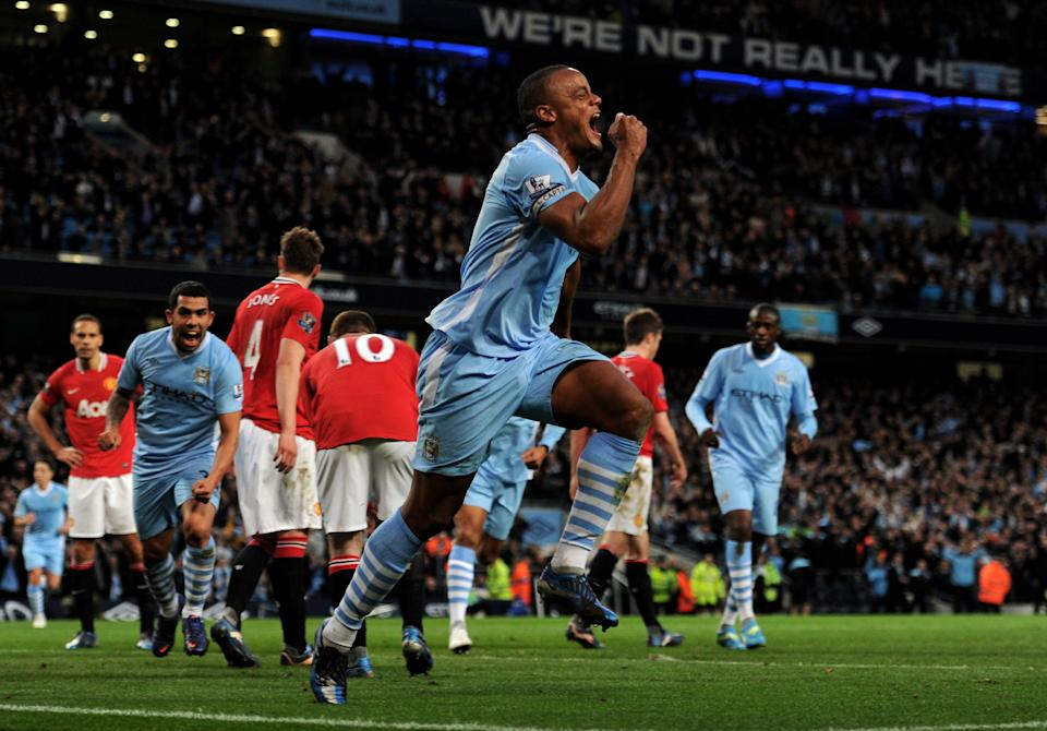 Vincent Kompany scores the winner for Manchester City against Manchester United in 2012.
