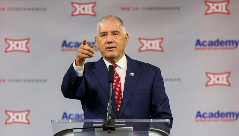 Big 12 Commissioner Bob Bowlsby speaks to reporters during Big 12 media days on July 14, 2021.