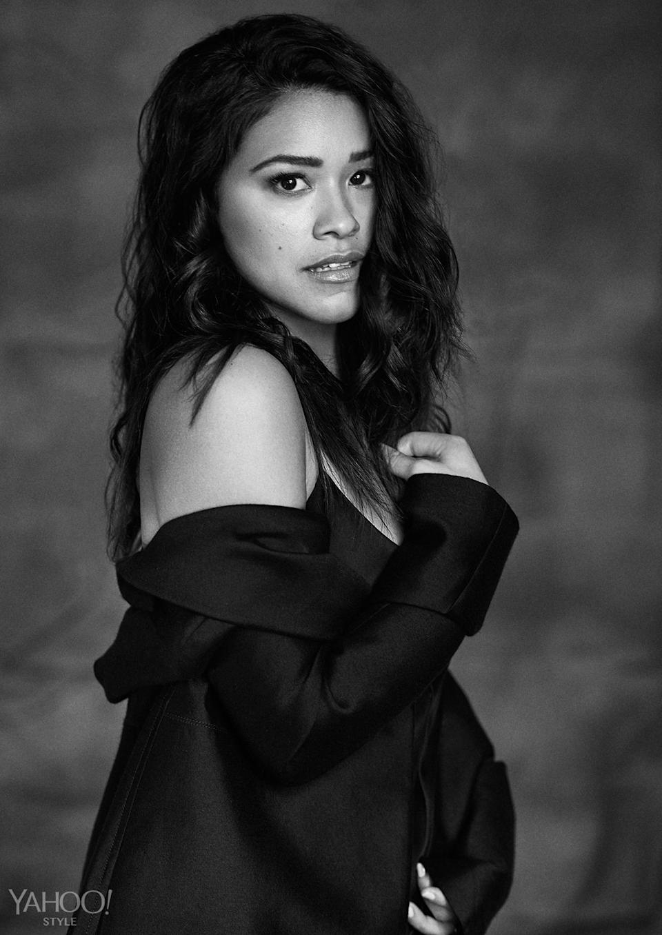 """<p>In <i>Annihilation,</i> Rodriguez stars with Natalie Portman, Jennifer Jason Leigh, and Tessa Thompson, who had a breakout role in <i>Creed</i>. """"I'm so excited to work with those women. I just think that they are beyond powerful,"""" she says. </p><p><i><b>Equipment </b>Raquel silk-charmeuse maxi dress, $400, <a href=""""https://www.net-a-porter.com/us/en/product/638286/Equipment/racquel-silk-charmeuse-maxi-dress"""" rel=""""nofollow noopener"""" target=""""_blank"""" data-ylk=""""slk:Net-A-Porter"""" class=""""link rapid-noclick-resp"""">Net-A-Porter</a>. <b>Hermès </b><a href=""""http://usa.hermes.com/"""" rel=""""nofollow noopener"""" target=""""_blank"""" data-ylk=""""slk:wool coat"""" class=""""link rapid-noclick-resp"""">wool coat</a>, price upon request.</i><br></p>"""