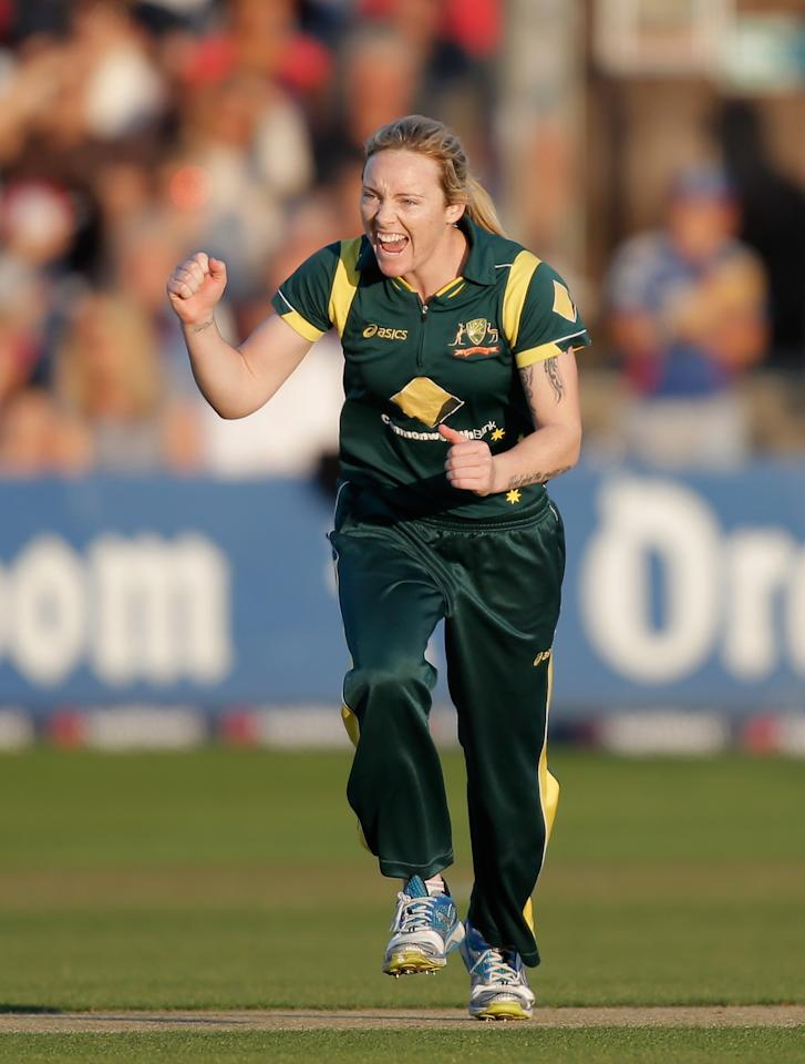 CHELMSFORD, ENGLAND - AUGUST 27:  Sarah Coyte of Australia celebrates dismissing Charlotte Edwards of England during the first NatWest T20 match between England and Australia at the Ford County Ground on August 27, 2013 in Chelmsford, England.  (Photo by Harry Engels/Getty Images)