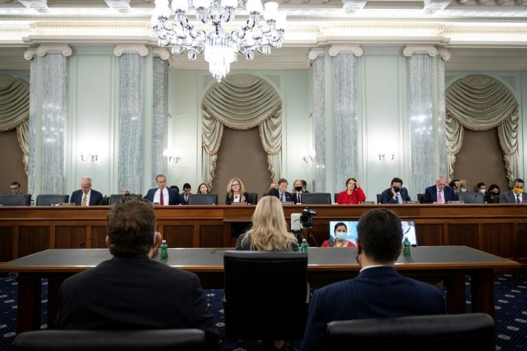 Committee Senators listen as former Facebook employee and whistleblower Frances Haugen (C) testifies before a Senate Committee on Commerce, Science and Transportation hearing on Capitol Hill, October 5, 2021, in Washington, DC (AFP/Drew Angerer)