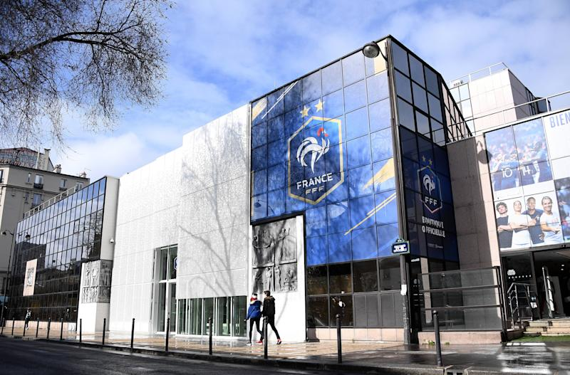"A photograph taken on March 14, 2020 shows the headquarters of the French Football Federation in Paris. - The French football season has been suspended ""until further notice"" because of the coronavirus outbreak, the LFP, which runs the elite Ligue 1 and Ligue 2, announced on March 13, 2020. (Photo by FRANCK FIFE / AFP) (Photo by FRANCK FIFE/AFP via Getty Images)"