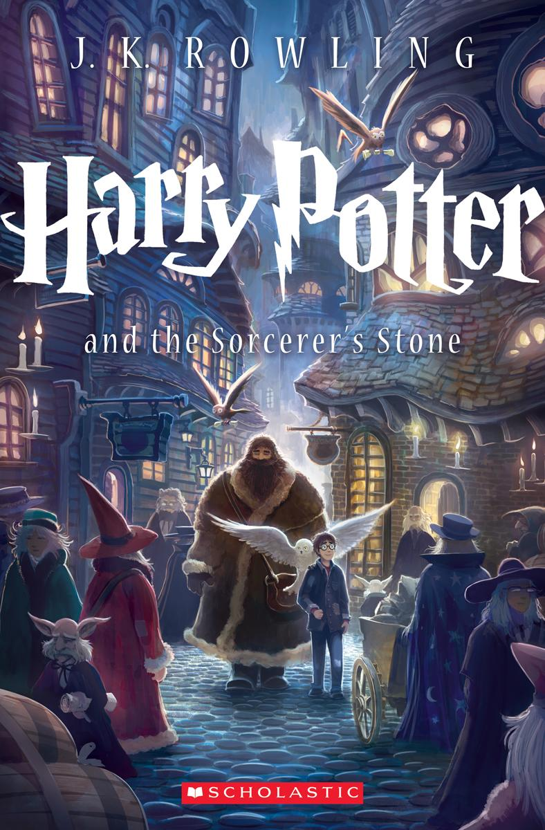 """This book cover image released by Scholastic  Inc., shows the cover for the U.S. trade paperback editions of J.K. Rowling's blockbuster """"Harry Potter"""" series. The new edition of """"Sorcerer's Stone"""" is scheduled for September, the 15th anniversary of Potter's debut in the U.S. The British editions are published by Bloomsbury. They have long had separate designs from the U.S. versions. (AP Photo/Scholastic  Inc.)"""