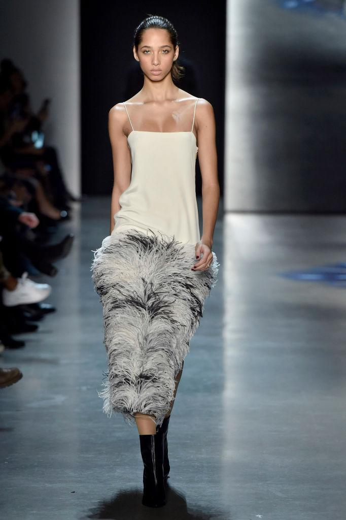 <p>A feather tank dress at the Prabal Gurung FW18 show. (Photo: Getty) </p>