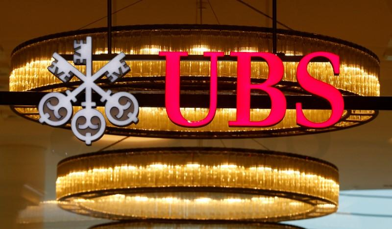 The logo of Swiss bank UBS is seen at a branch office in Basel