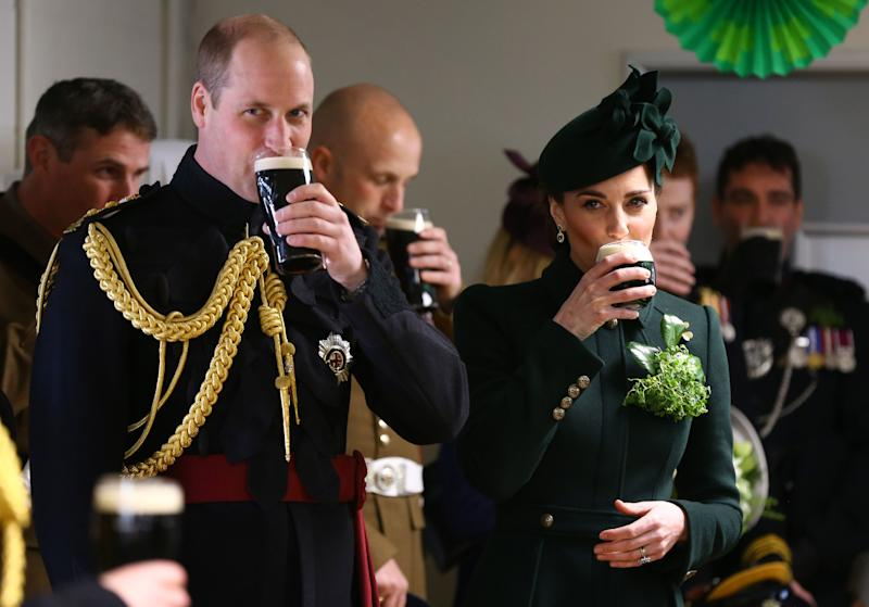 Wiliam, Duke of Cambridge and Catherine, Duchess of Cambridge meets with Irish Guards after attending the St Patrick's Day parade at Cavalry Barracks in Hounslow, where they presented shamrock to officers and guardsmen of 1st Battalion the Irish Guards on March 17, 2019 in Hounslow, England. (Photo: WPA Pool via Getty Images)