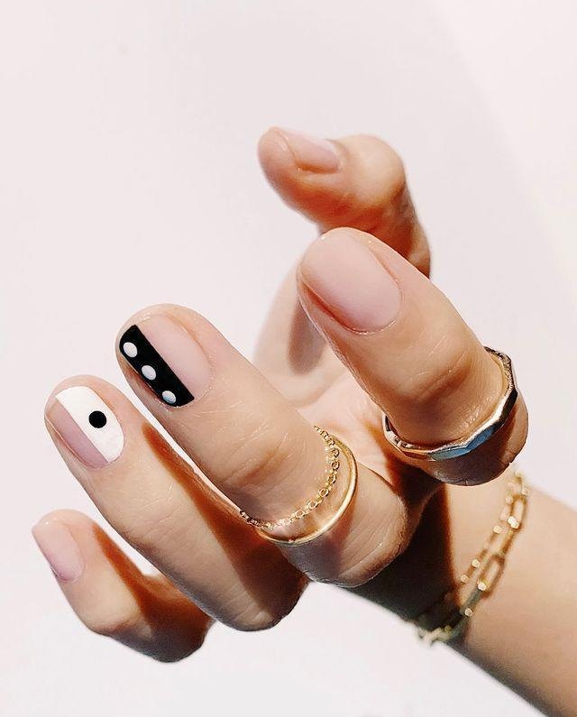 """<p>Dice, dominoes—whatever the black-and-white dots and lines on these <a href=""""https://www.cosmopolitan.com/style-beauty/beauty/g30858051/short-nail-design-ideas/"""" rel=""""nofollow noopener"""" target=""""_blank"""" data-ylk=""""slk:short nails"""" class=""""link rapid-noclick-resp"""">short nails</a> make you think of, they prove that your design doesn't need a whole lot going on to get your point across and <strong>you don't need long nails</strong> to do it either.</p><p><a href=""""https://www.instagram.com/p/B659XxanFtI/?utm_source=ig_embed&utm_campaign=loading"""" rel=""""nofollow noopener"""" target=""""_blank"""" data-ylk=""""slk:See the original post on Instagram"""" class=""""link rapid-noclick-resp"""">See the original post on Instagram</a></p>"""