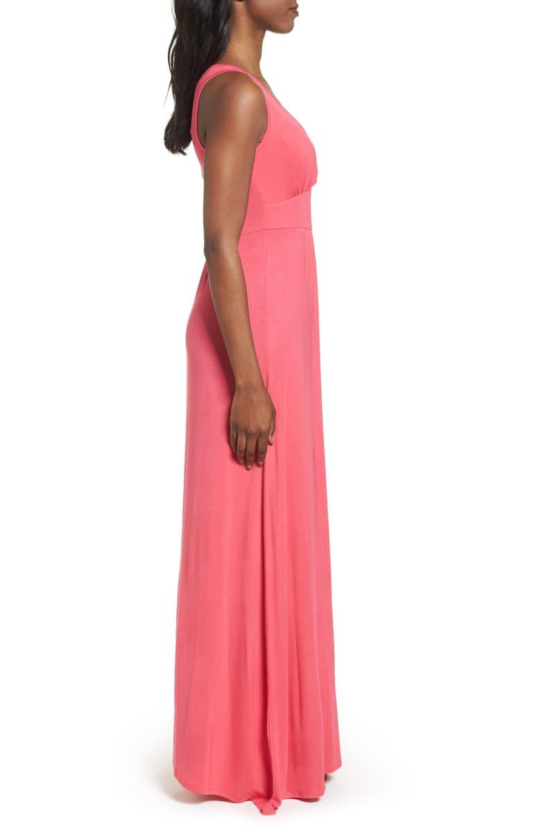 Loveappella V-neck Jersey Maxi Dress in pink polish