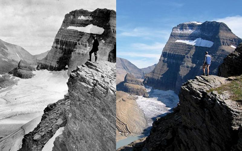 A park visitor, imaged in the same location as the 1920 photo, overlooks the changes to Grinnell glacier over the past 90 years. | Courtesy National Park Service