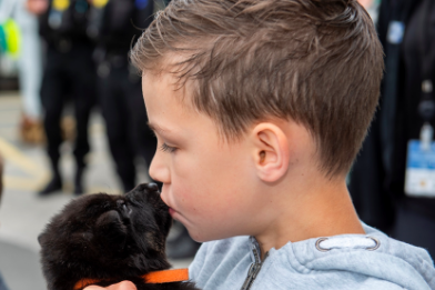Eight-year-old Oscar spent the day at Bournville police station and got to meet some of the newest police pups: West Midlands Police