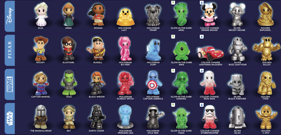 The new Woolworths Ooshie collectables, including miniature Elsa, Moana, Woody and Captain America.
