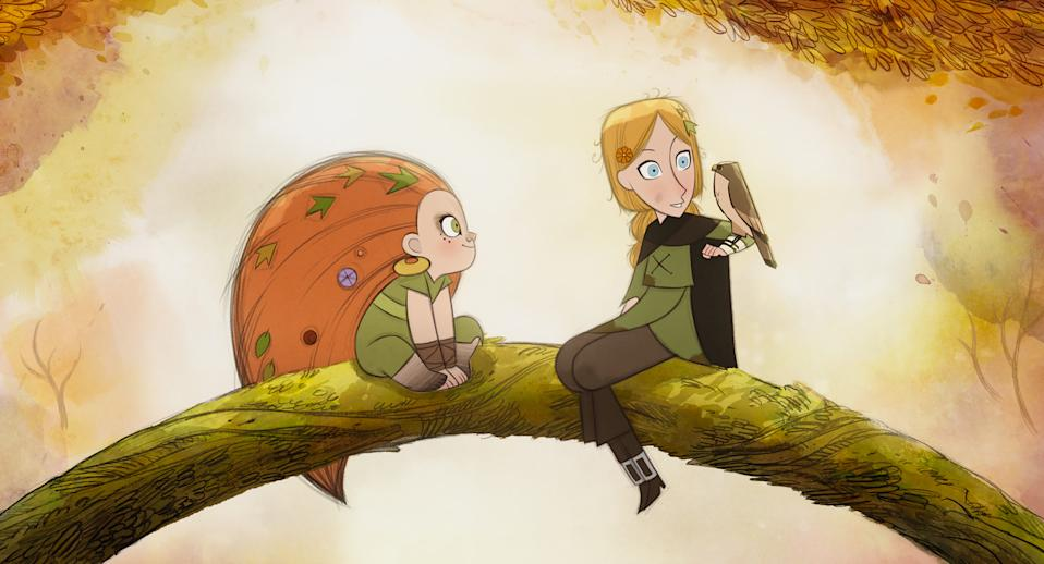 """Mebh (voiced by Eva Whittaker, left) and Robyn (Honor Kneafsey) are friends from different parts of a fantasy world in the animated film """"Wolfwalkers."""""""
