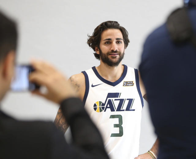 "<a class=""link rapid-noclick-resp"" href=""/nba/players/4610/"" data-ylk=""slk:Ricky Rubio"">Ricky Rubio</a> replaces <a class=""link rapid-noclick-resp"" href=""/nba/players/4488/"" data-ylk=""slk:George Hill"">George Hill</a> at the helm of the <a class=""link rapid-noclick-resp"" href=""/nba/teams/uth/"" data-ylk=""slk:Utah Jazz"">Utah Jazz</a> offense. (AP)"