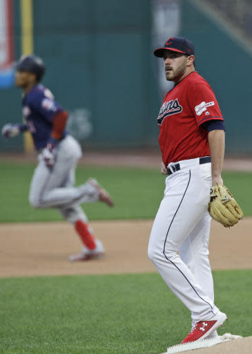 Cleveland Indians starting pitcher Aaron Civale, right, waits for Minnesota Twins' Jorge Polanco to run the bases after Polanco hit a two-run home run in the first inning in a baseball game Friday, Sept. 13, 2019, in Cleveland. (AP Photo/Tony Dejak)