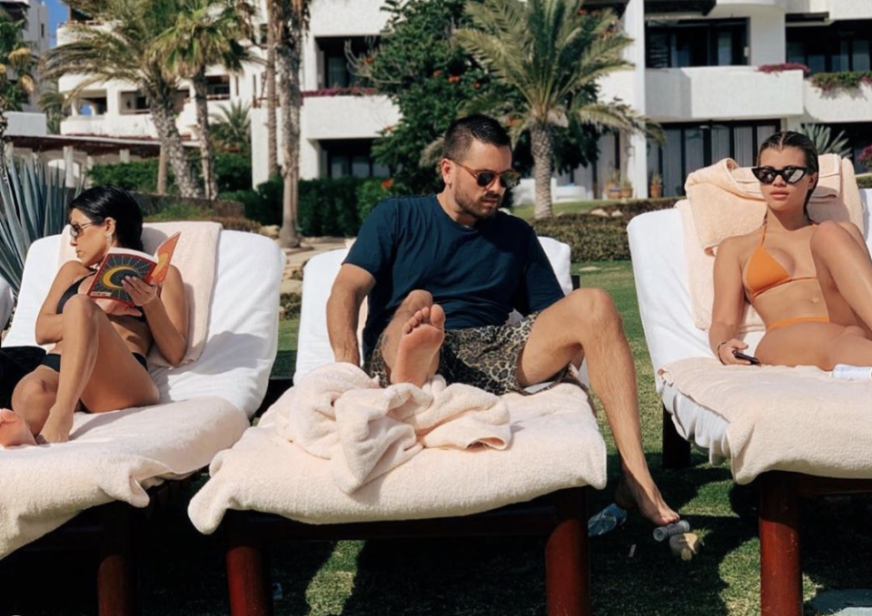 Scott Disick is joined on vacation by ex Kourtney Kardashian and current girlfriend, Sofia Richie. (Photo: Instagram)