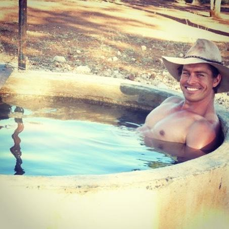 Big Brother's David 'Farmer Dave' Graham shirtless in a water trough
