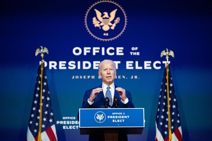President-elect Joe Biden speaks at The Queen theater in Wilmington, Del., on Nov. 9, 2020. (Amr Alfiky/The New York Times)