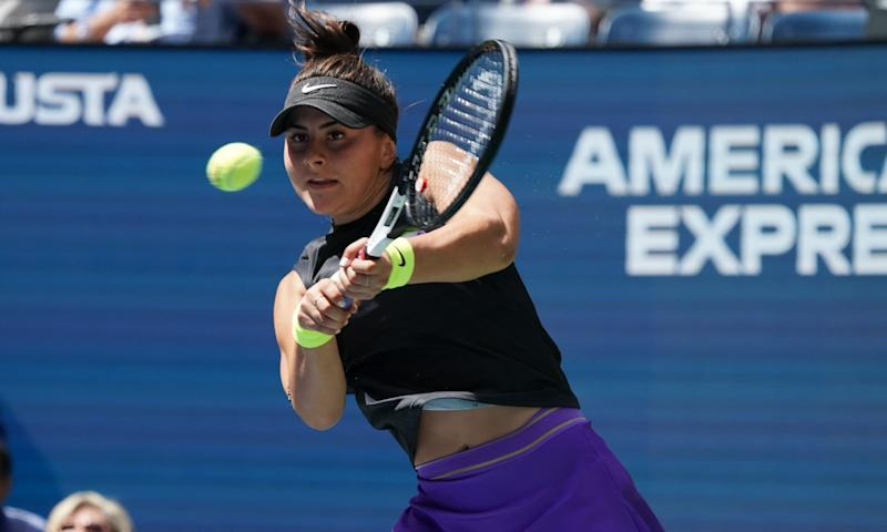 Bianca Andreescu from Canada plays against Caroline Wozniacki fromDenmark during their Round Three Women's Singles match at the 2019 US Open at the USTA Billie Jean King National Tennis Center in New York on August 31, 2019. (Photo by TIMOTHY A. CLARY / AFP) (Photo credit should read TIMOTHY A. CLARY/AFP/Getty Images)
