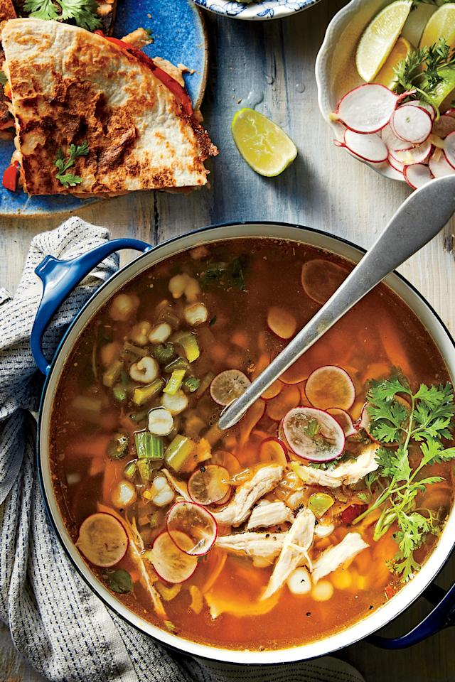"""<p><b>Recipe: <a href=""""http://www.southernliving.com/recipes/green-chile-turkey-soup-hominy"""">Green Chile-Turkey Soup with Hominy </a></b></p> <p>Holy hominy! Full of green chiles, tomatillos, and white hominy, this Tex-Mex soup might be our favorite leftover turkey recipe. </p>"""