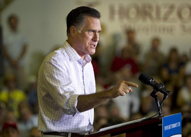 Republican presidential candidate, former Massachusetts Gov. Mitt Romney gestures during a campaign event at Horizontal Wireline Services on Tuesday, July 17, 2012 in Irwin, Pa.  (AP Photo/Evan Vucci)