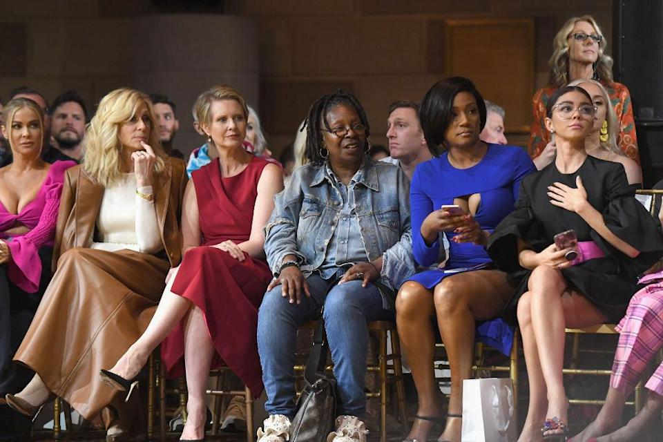 <p>Cynthia Nixon attended Christian Siriano's show and sat in the front row alongside, from left, Carmen Electra, Judith Light, Whoopi Goldberg, Tiffany Haddish, and Sarah Hyland. (Photo: Getty) </p>