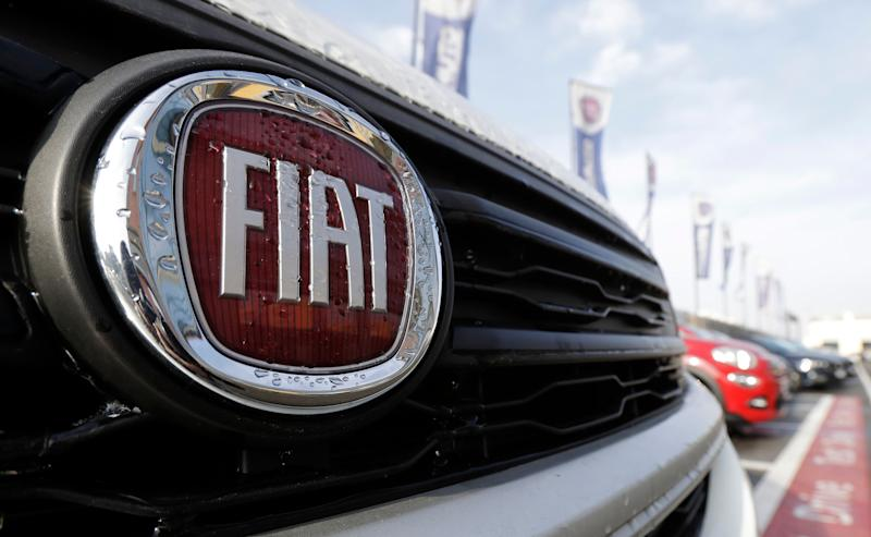 The Fiat logo on a car exhibited at a car dealer in Milan, Italy, on Friday, January 13, 2017. The US government accuses Fiat Chrysler of not releasing software in some of its diesel-engined pickups and SUVs, which allow them to emit more pollutants than permitted by the Clean Air Act. (AP Photo / Antonio Calanni)