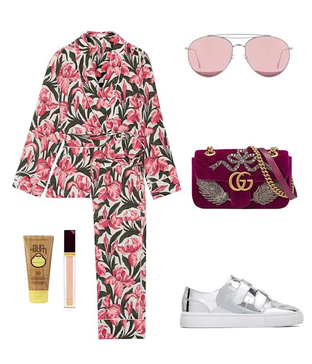 <p>If you want to make a statement, this one's for you. We love this pajama set from Equipment and to ease the drama a bit, choose pink-hued lensed sunglasses instead of oversized ones like Salma. Keep the comfort streak going with a pair of metallic velcro-strap sneakers. </p>