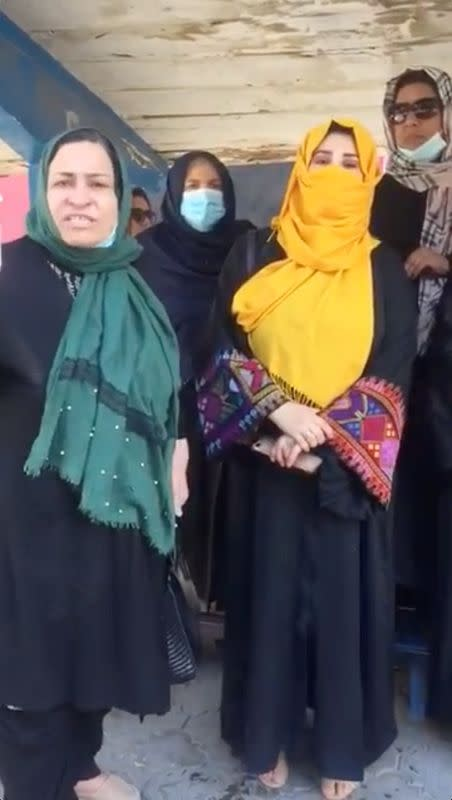 A group of women gather for a protest in Kabul