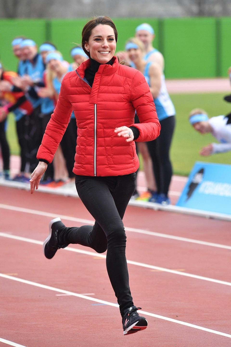 <p><b>When:</b> February 5, 2017 <b>Where:</b> <span>A Heads Together charity race at the Queen Elizabeth Olympic Park</span> <b>Wearing: </b>Perfect Moment Mini Duvet Quilted Down Ski Jacket, $450; <span>net-a-porter.com </span>New Balance Women's 77v1 Vazee Transform Training Shoe, $65; <span>amazon.com</span><b> Get the Look for Less: </b>MICHAEL Michael Kors Hooded Down Jacket, $150; <span>nordstrom.com </span>J.Crew Toothpick Jean in Black, $115; <span>jcrew.com </span>Tissue Turtleneck T-shirt, $35; <span>jcrew.com</span> </p>