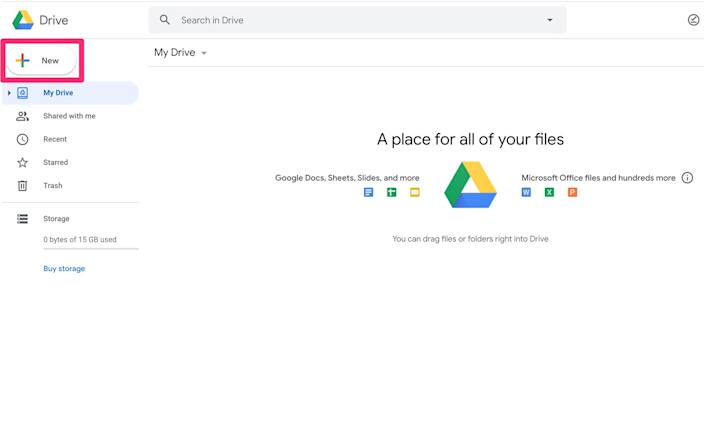 To get started, you can drag and drop files into Drive, or create something new.