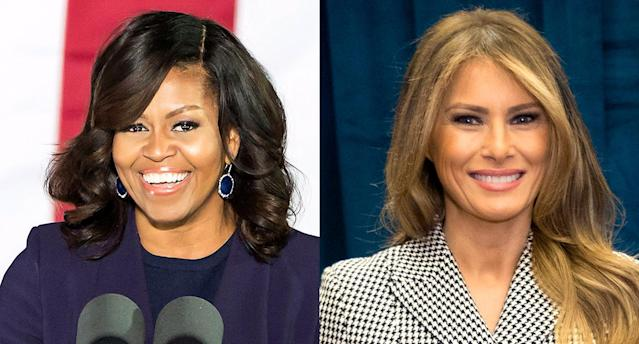 A controversial new story compares Melania Trump to Michelle Obama. (Photos: Getty Images)
