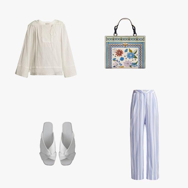 Lee Mathews Carly pleated cotton-muslin blouse, $370, matchesfashion.com; Thierry Colson Loulou striped cotton pants, $480, matchesfashion.com; Alumnae turban slides, 500, shop.alumnae.nyc; Tory Burch Kira floral small tote, $578, toryburch.com