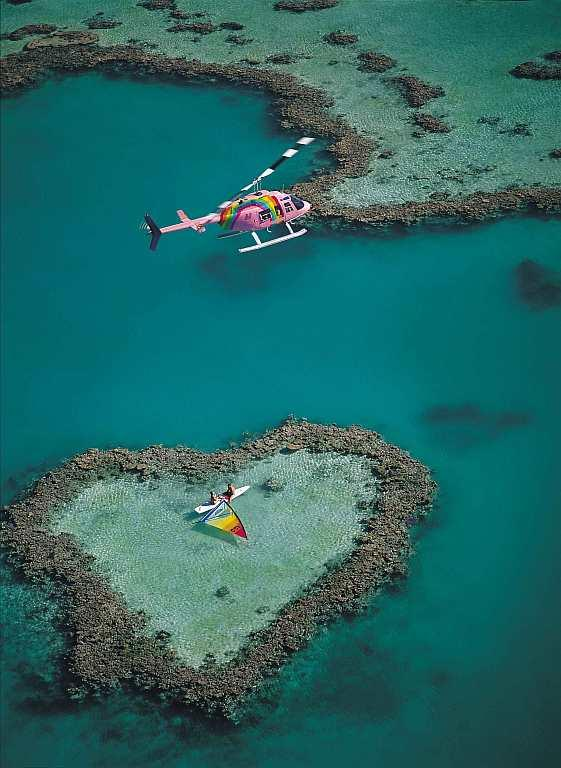 The Whitsundays region of the Great Barrier Reef offers helicopter and scenic seaplane flights to the perfectly formed Heart Reef.