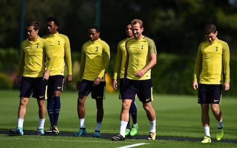 Tottenham Hotspur's striker Harry Kane (C) takes part in a training session - Credit: AFP/Getty Images