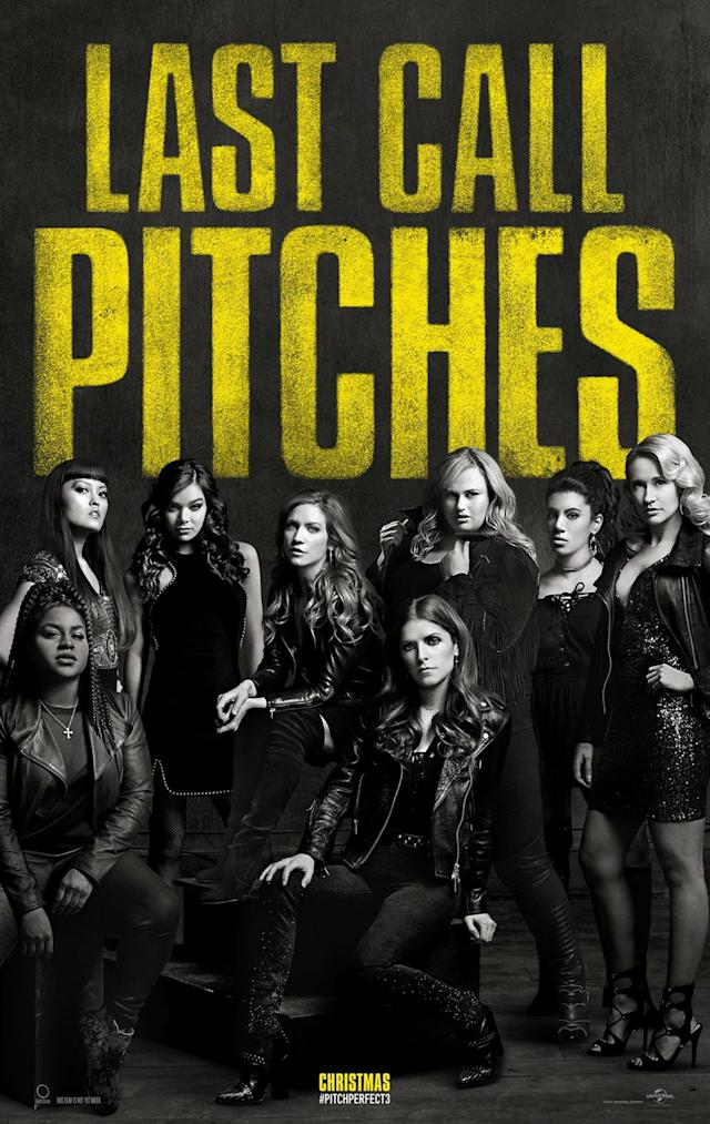 The <em>Pitch Perfect 3</em> poster teases the end of the franchise. (Courtesy of Universal Pictures)