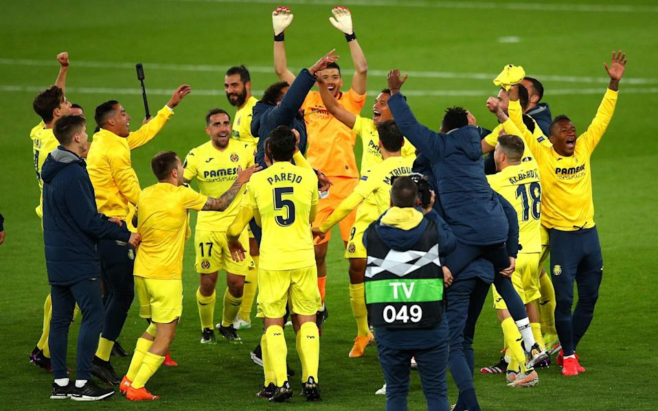 Villareal CF players celebrate victory following the UEFA Europa League Semi-final Second Leg match between Arsenal and Villareal CF - Getty Images