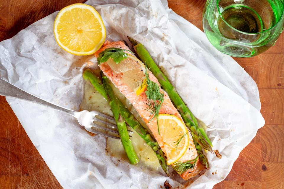 Salmon, potato and asparagus parcels (Flic Everett)