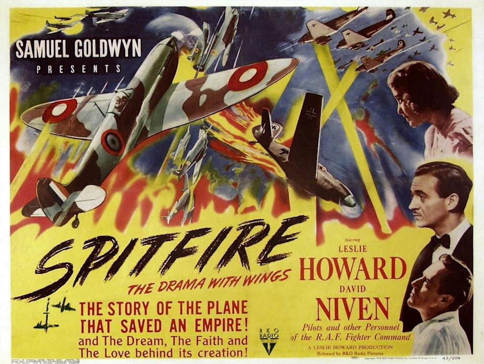 The First Of The Few, poster, (aka SPITFIRE), right from top: Rosamund John, David Niven, Leslie Howard, 1942. (Photo by LMPC via Getty Images)
