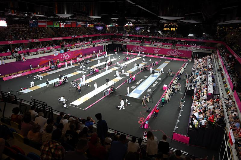 A general view of the fencing stage of the Modern Pentathlon at the Copper Box in the Olympic Park, London. (Photo by Steve Parsons/PA Images via Getty Images)