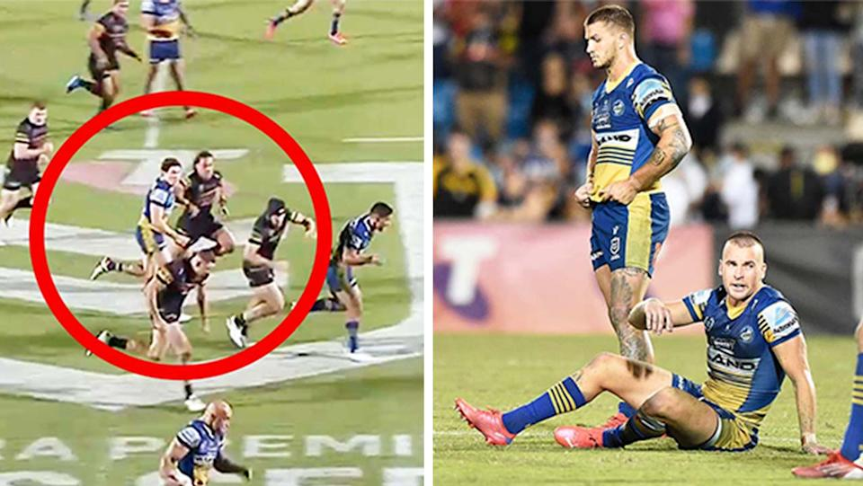 The Parramatta Eels (pictured right) looking dejected and (pictured right) Mitchell Moses being taken out of play.